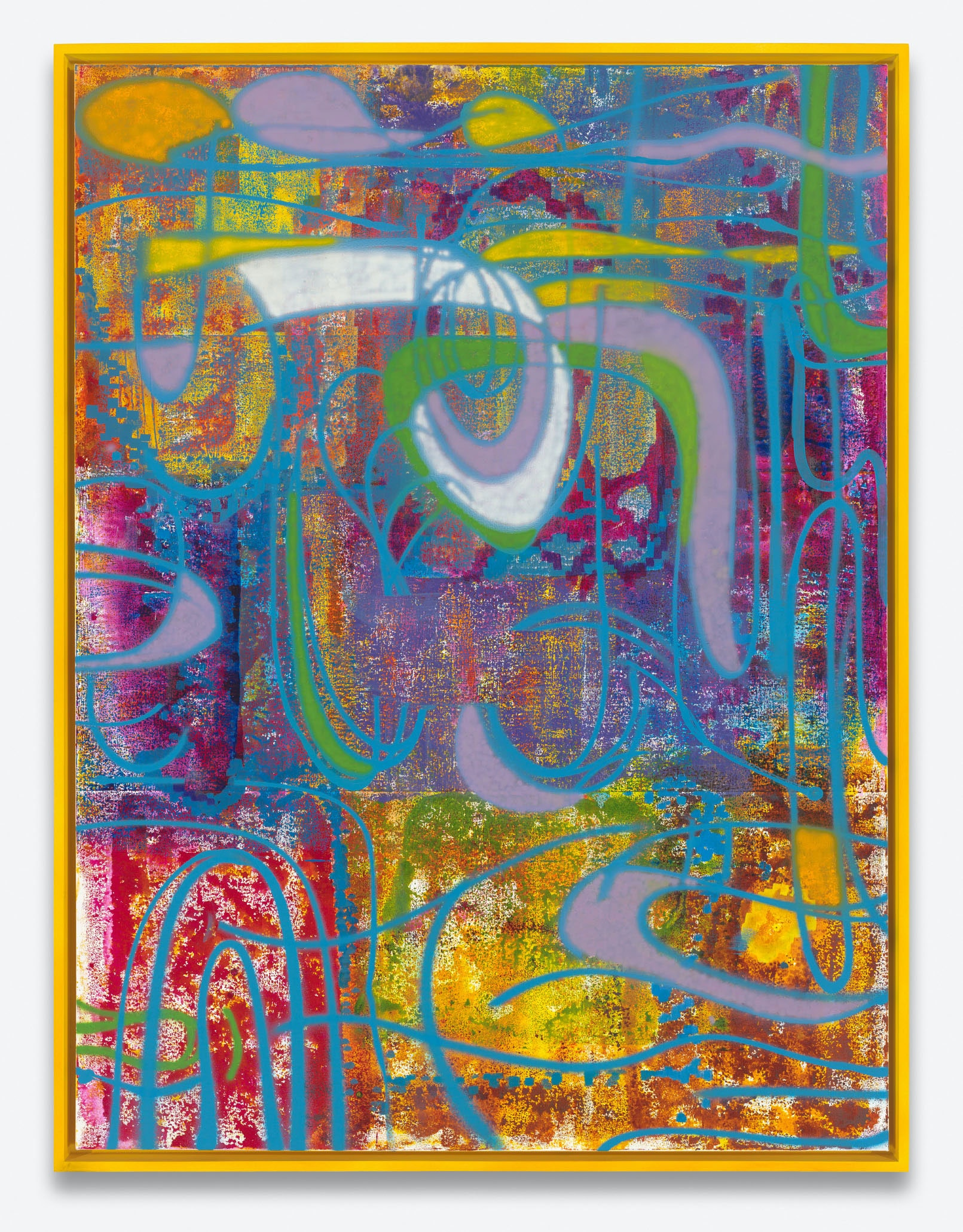 Keltie Ferris, <em>FEEEEELINGS</em>, 2020-21. Oil and watercolor on canvas in the artist's frame, 83 x 63 x 3 inches. © Keltie Ferris. Courtesy the artist and Mitchell-Innes & Nash, New York. Photo: Mark Woods.