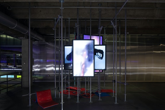 Installation view: <em>Assuming Distance: Speculations, Fakes, and Predictions in the Age of the Coronacene</em>, Garage Museum of Contemporary Art, Moscow, 2021. Photo: Ivan Erofeev. © Garage Museum of Contemporary Art.
