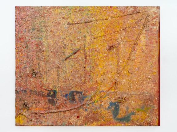 Frank Bowling, <em>Enter the Dragon</em>, 1984. Acrylic, acrylic gel and polyurethane foam on canvas with marouflage, 90 3/4 x 109 3/8 x 3 7/8 inches. Photo: Thomas Barratt. © Frank Bowling. Courtesy the artist and Hauser & Wirth.