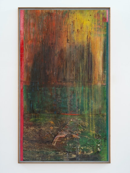 Frank Bowling, <em>Pondlife (After Millais)</em>, 2007. Acrylic, acrylic gel, fabric and found objects on canvas with marouflage, 90 3/8 x 53 1/2 x 1 3/4 inches (framed). Photo: Thomas Barratt. © Frank Bowling. Courtesy the artist and Hauser & Wirth.