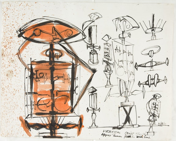 David Smith, <em>Study for 'The Hero'</em>, 1951. Watercolor and ink on paper, 18 1/4 x 22 3/4 inches. Chazen Museum of Art, University of Wisconsin-Madison, Terese and Alvin S. Lane Collection. Photo: Eric Tadsen. © 2021 The Estate of David Smith / Licensed by VAGA at Artists Rights Society (ARS), NY.