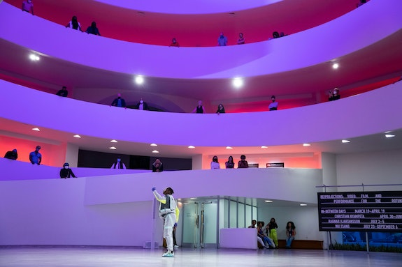 """Works & Process Bubble Performance: """"Take Me Back"""" from <em>New York Is Burning</em> by Omari Wiles, with Les Ballet Afrik, May 4, 2021, Solomon R. Guggenheim Museum. Photo: Titus Ogilvie-Laing."""