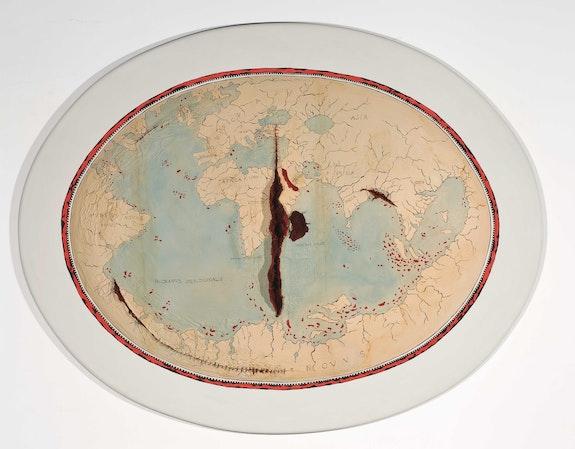 Adriana Varejão, <em>Map of Lopo Homem II</em>, 1992–2004. Oil on wood with suture thread, 43.3 x 55 x 4 inches. Private Collection, Rio de Janeiro. © Adriana Varejão. Courtesy the artist and Gagosian.