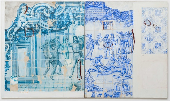 Adriana Varejão, <em>Proposal for a Catechesis—Part I Diptych: Death and Dismemberment</em>, 1993. Oil on canvas, 55 x 94 1/2 inches (diptych). © Adriana Varejão. Photo: Eduardo Ortega. Courtesy the artist and Gagosian.