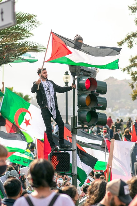 Protest against Israel & US aid to Israel and for a free Palestine on May 15th, San Francisco CA, 2021. Photo: Patrick Perkins.