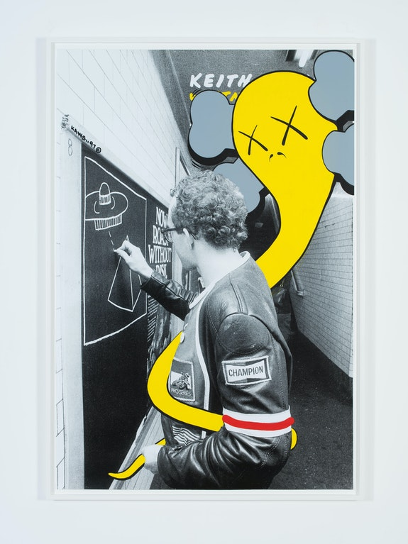 KAWS, <em>UNTITLED (HARING)</em>, 1997. Acrylic on existing advertising poster. 68 x 48 inches.   © KAWS. Photo: Farzad Owrang. Courtesy the artist.