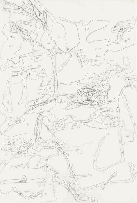 Julie Mehretu, <em>Migration Direction Map (large)</em>, 1996. Ink on mylar, 22 x 15 inches. Private collection. Photo: Cathy Carver © Julie Mehretu.
