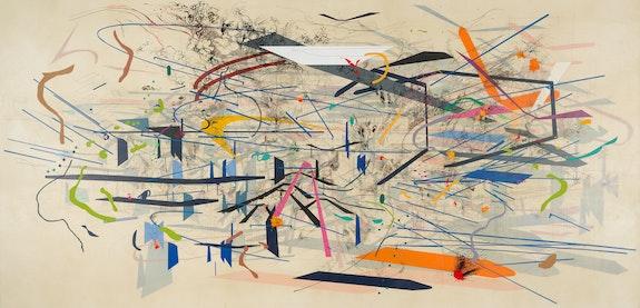 Julie Mehretu, <em>Retopistics: A Renegade Excavation</em>, 2001. Ink and acrylic on canvas, 101 1/2 x 208 1/2 inches. Crystal Bridges Museum of American Art. Photo: Edward C. Robinson, III. © Julie Mehretu.