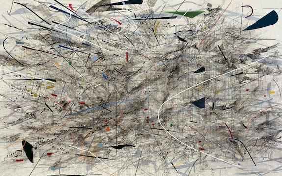 Julie Mehretu, <em>Black City</em>, 2007. Ink and acrylic on canvas, 120 x 192 inches. François Pinault Collection. Photo Courtesy of The François Pinault Collection. © Julie Mehretu.