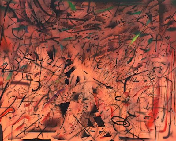 Julie Mehretu, <em>Hineni (E. 3:4)</em>, 2018. Ink and acrylic on canvas, 96 x 120 inches. Centre Pompidou, Paris, Musée national d'art moderne/Centre de création industrielle; gift of George Economou, 2019. Photo: Tom Powel Imaging. © Julie Mehretu.