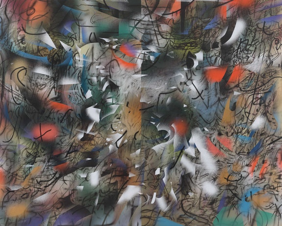 Julie Mehretu, <em>Haka (and Riot)</em>, 2019. Ink and acrylic on canvas, 144 x 180 inches. Los Angeles County Museum of Art; gift of Andy Song. Photo: Tom Powel Imaging. © Julie Mehretu.