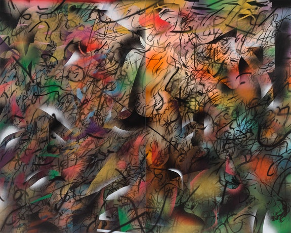 Julie Mehretu, <em>Ghosthymn (after the Raft)</em>, 2019–21. Ink and Acrylic on canvas, 144 x 180 inches. Photo: Tom Powel Imaging. Courtesy the artist and Marian Goodman Gallery, New York. © Julie Mehretu.