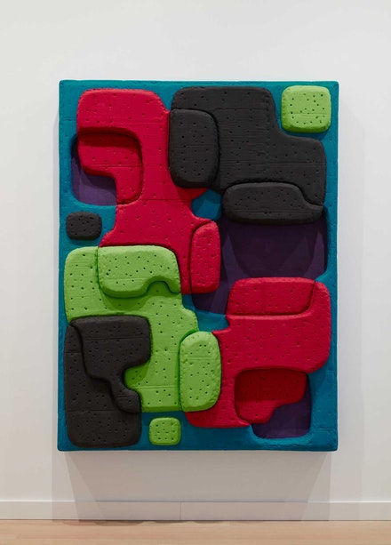 Guy Goodwin, <em>Mattress World: Lime Lime</em>, 2021. Acrylic, cardboard, glue, tempera, and wood, 72 x 53 x 6 inches. Courtesy the Milton Resnick and Pat Passlof Foundation, New York.© Jason Wyche 2021.