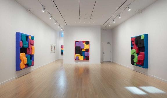 Installation view: Guy Goodwin: <em>Mattress World</em>, Milton Resnick and Pat Passlof Foundation, New York, 2021. Courtesy the Milton Resnick and Pat Passlof Foundation, New York.© Jason Wyche 2021.
