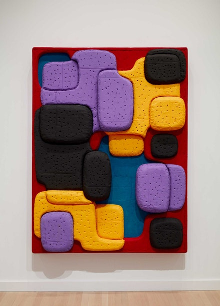 Guy Goodwin, <em>Mattress World: Heat</em>, 2021. Acrylic, cardboard, glue, tempera, and wood, 72 x 53 x 6 inches. Courtesy the Milton Resnick and Pat Passlof Foundation, New York.© Jason Wyche 2021.