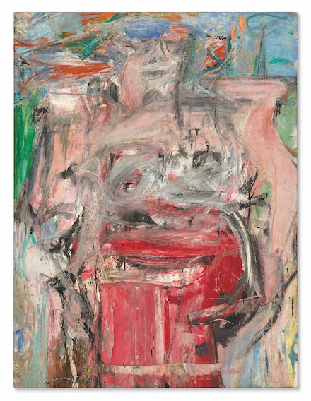 Willem de Kooning, <em>Woman as Landscape</em>, 1954–55. Oil on canvas, 65 1/4 x 49 3/4 inches. Private collection. Photo © Christie's Images / Bridgeman Images. © 2021 The Willem de Kooning Foundation / Artists Rights Society (ARS), New York.