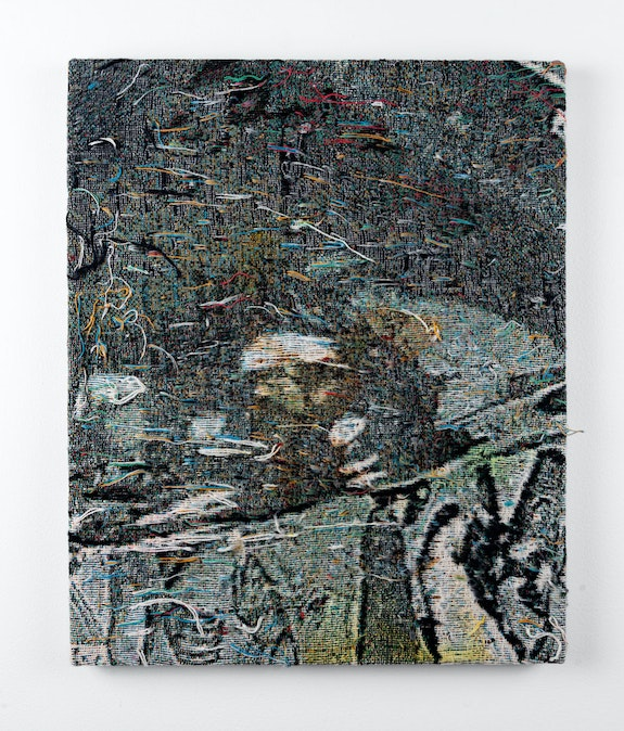 Noel W. Anderson, <em>Through the Looking Glass I</em>, 2021. Dye and metal leaf on distressed, stretched cotton tapestry 20 x 16 in. Courtesy the artist and JDJ.