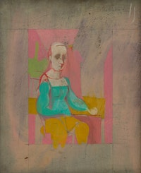 Willem de Kooning, <em>Figure</em>, 1944. Oil on masonite, 19 1/2 x 16 1/8 inches. © 2021 The Willem de Kooning Foundation / Artists Rights Society (ARS), New York.