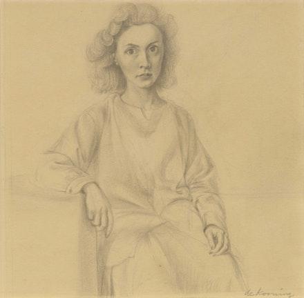 Willem de Kooning, <em>Portrait of Elaine</em>, 1940–41. Pencil on paper 12 1/4  x 11 7/8 inches. © 2021 The Willem de Kooning Foundation / Artists Rights Society (ARS), New York. Courtesy Craig F. Starr Gallery.
