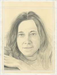 Portrait of Adriana Varejão, pencil on paper by Phong H. Bui.