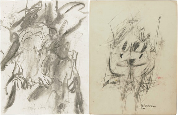 Left: Willem de Kooning, <em>Untitled</em>, c. 1975-80. Charcoal on paper, 11 x 8 1/2 inches. © 2021 The Willem de Kooning Foundation / Artists Rights Society (ARS), New York. Courtesy Matthew Marks Gallery. <br>Right: Willem de Kooning, <em>Woman</em>, c. 1950. Graphite and wax crayon on paperboard, double sided, 13 1/8 x 10 inches. © 2021 The Willem de Kooning Foundation / Artists Rights Society (ARS), New York. Courtesy Matthew Marks Gallery.