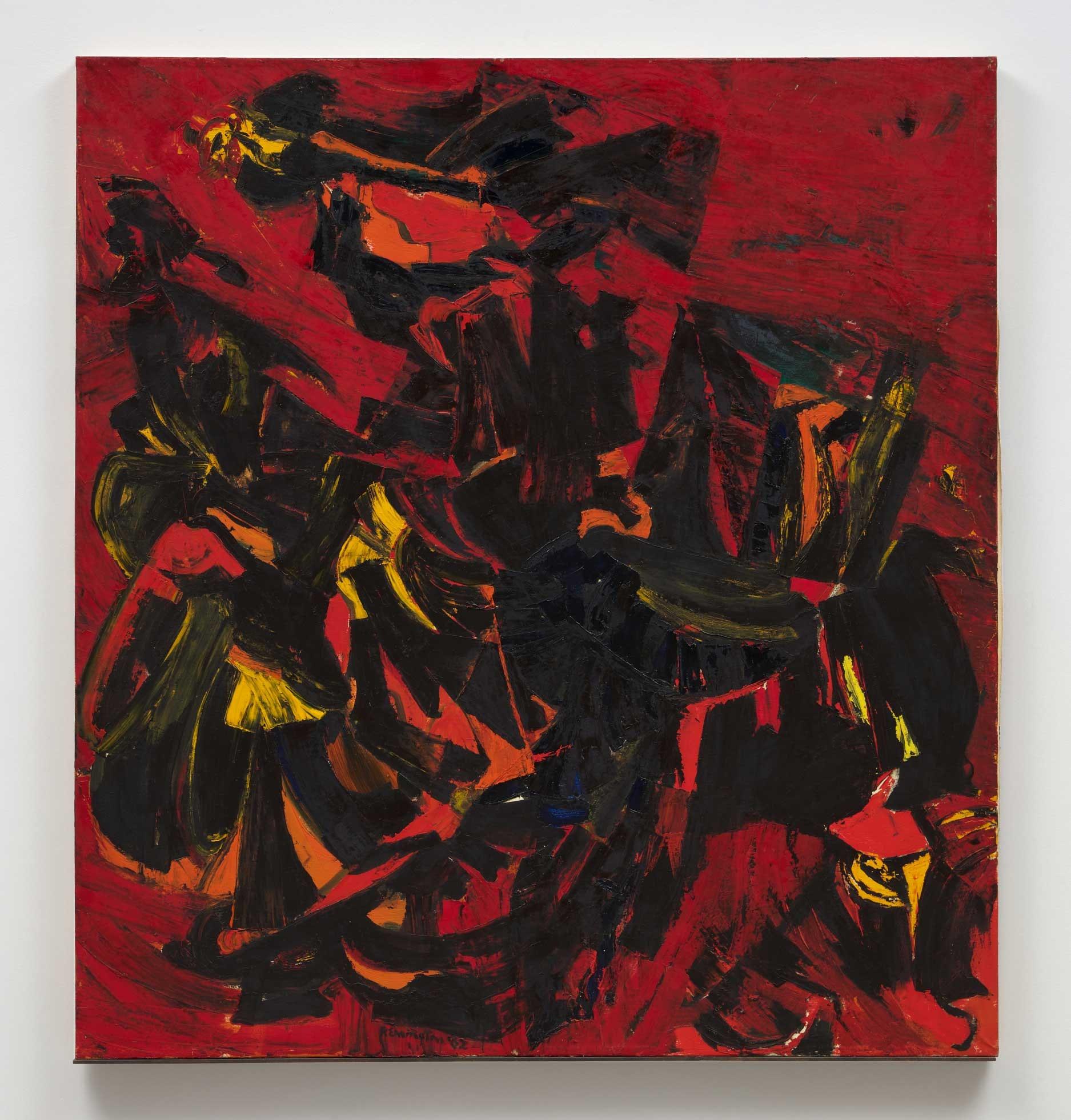 Deborah Remington, <em>Big Red</em>, 1962. Oil on canvas, 75 x 69 inches. Courtesy The Deborah Remington Trust and Bortolami Gallery, New York.