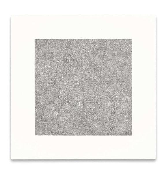 Jacob El Hanani, <em>Dense Circles</em>, 2020. Ink on gessoed canvas, 18 x 18 inches. Courtesy Acquavella Galleries.