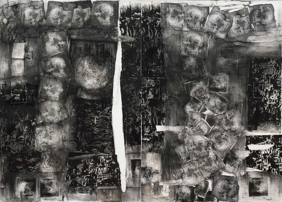 Catalina Chervin, <em>Untitled I (Street Art Series)</em>, 2014–16. Mixed media on paper mounted on canvas (diptych), 78 3/4 x 118 1/8 inches. Courtesy Hutchinson Modern & Contemporary.