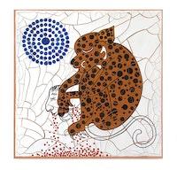 Adriana Varejão, <em>Jaguar</em>, 2020. Oil and plaster on canvas, 70 7/8 x 70 7/8 x 1 5/8 inches. © Adriana Varejão. Photo: Vicente de Mello. Courtesy the artist and Gagosian.