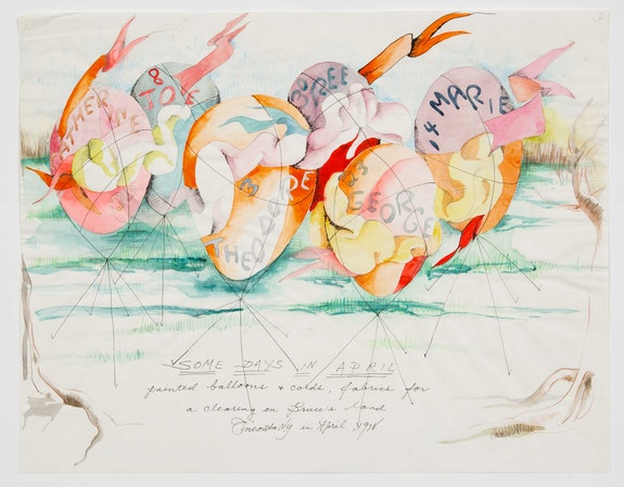 Rosemary Mayer, <em>Some Days in April</em>, 1978. Colored pencil, graphite, ink, and watercolor on paper, 14 x 18 inches. Courtesy Gordon Robichaux, NY. Photo: Greg Carideo.