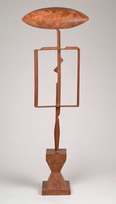 David Smith, <em>The Hero</em>, 1951–52. Steel, paint, 75 x 25 1/2 x 11 3/4 inches. Brooklyn Museum, Dick S. Ramsay Fund. Courtesy the Estate of David Smith and Hauser & Wirth. © 2021 The Estate of David Smith / Licensed by VAGA at Artists Rights Society (ARS), NY.
