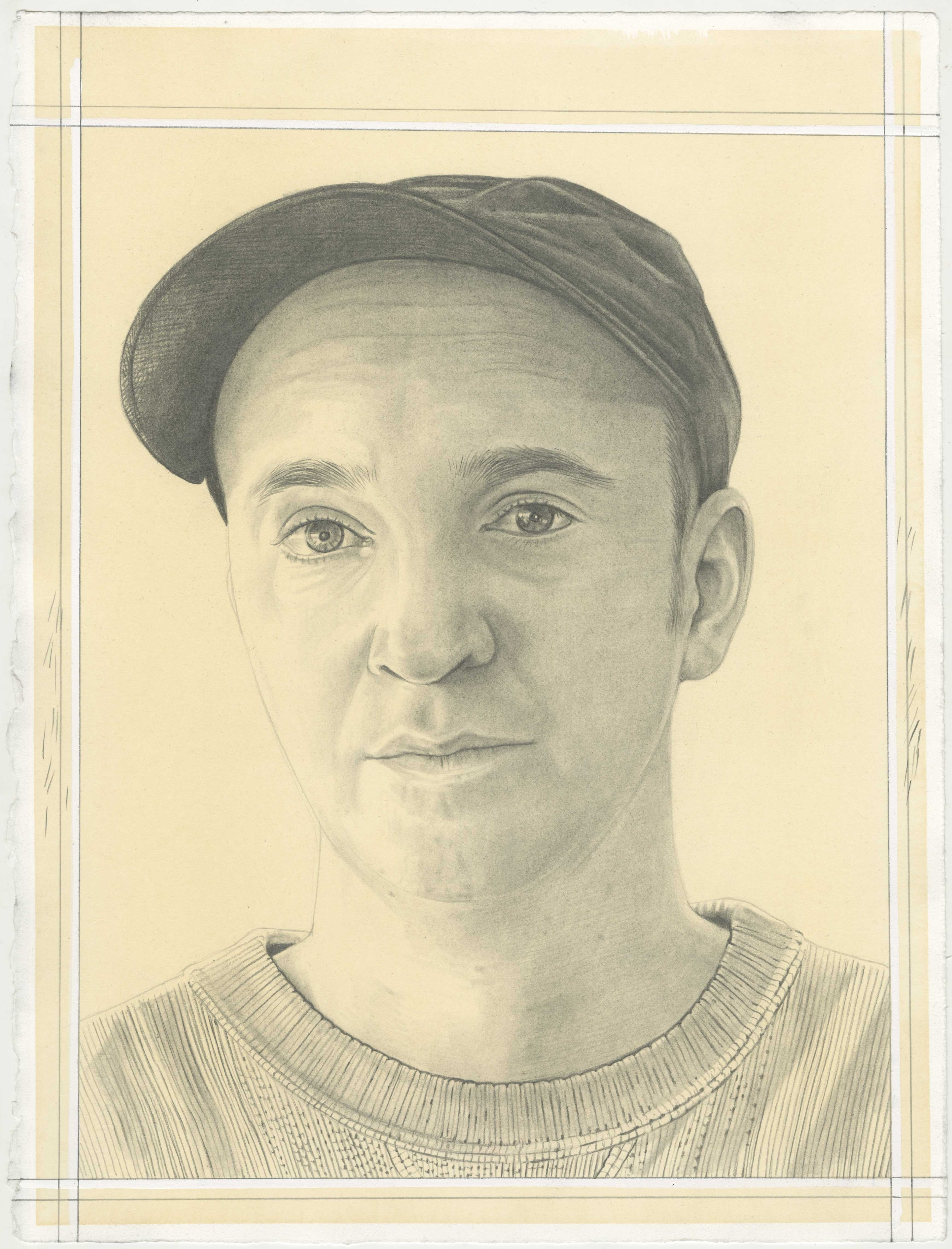 Portrait of KAWS, pencil on paper by Phong H. Bui.