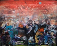 Ali Banisadr, <em>Red</em>, 2020. Oil on linen, 48 x 60 inches. Courtesy Kasmin Gallery, New York.