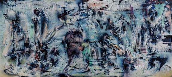 Ali Banisadr, <em>The Messenger</em>, 2021. Oil on linen, 72 x 160 inches. Courtesy Kasmin Gallery, New York.