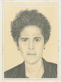 Portrait of Julie Mehretu, pencil on paper by Phong H. Bui.