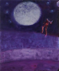 Katherine Bradford, <em>Moon Jumper</em>, 2016. Acrylic on canvas, 72 x 60 inches. Hall Collection. Courtesy Hall Art Foundation. © Katherine Bradford.