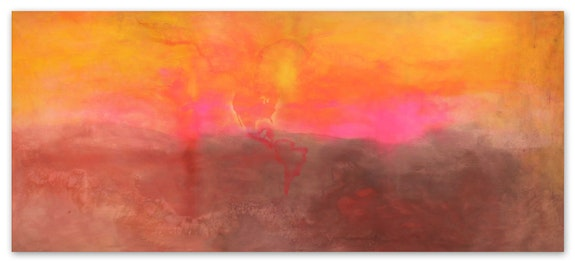 Frank Bowling, <em>Texas Louise</em>, 1971. Acrylic on canvas, 111 x 261 3/4 inches. Photo: Charlie Littlewood. Courtesy Hales Gallery. © Frank Bowling. Courtesy the artist and Hauser & Wirth.