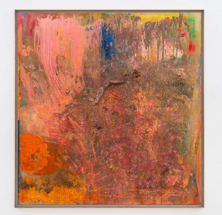 Frank Bowling, <em>Piano to Guyana</em>, 2004. Acrylic, acrylic gel and found objects on canvas with marouflage, 87 3/4 x 83 7/8 inches. Photo: Thomas Barratt. © Frank Bowling. Courtesy the artist and Hauser & Wirth.