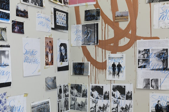 Sands Murray-Wassink, <em>Signature Collage (detail)</em>, 1993–95. Installation of 82 signed ephemeral objects, 1993–present. Oil crayon and mixed media on various paper materials (xeroxes, A4 paper, handprinted black and white photographs, color photo prints, and agnès b. bag), overall: 112 1/5 x 187 inches. Photo: Charlott Markus.