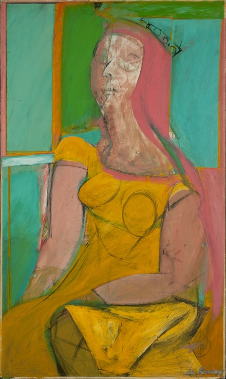 Willem de Kooning, <em>Queen of Hearts</em>, 1943–46. Oil and charcoal on fiberboard, 46 1/8 x 27 5/8 inches. Hirshhorn Museum and Sculpture Garden, Smithsonian Institution, Washington, DC. Gift of the Joseph H. Hirshhorn Foundation, 1966. Artwork © 2021 The Willem de Kooning Foundation / Artists Rights Society (ARS), New York. Photo: Lee Stalsworth, Hirshhorn Museum and Sculpture Garden.