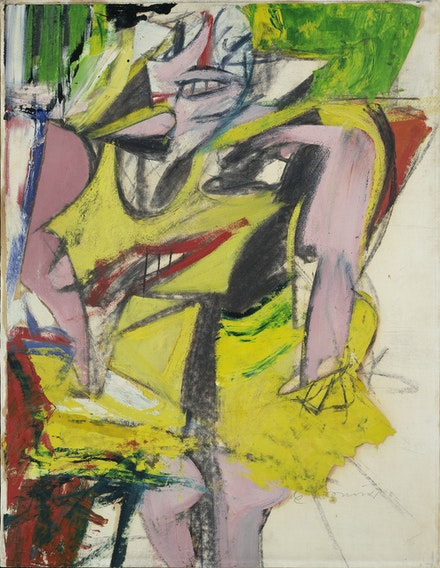 Willem de Kooning, <em>Woman</em>, 1953. Oil and charcoal on paper mounted on canvas, 25 5/8 x 19 5/8 inches. Hirshhorn Museum and Sculpture Garden, Smithsonian Institution, Washington, DC. Gift of Joseph H. Hirshhorn, 1966. Photo © Luisa Ricciarini / Bridgeman Images.