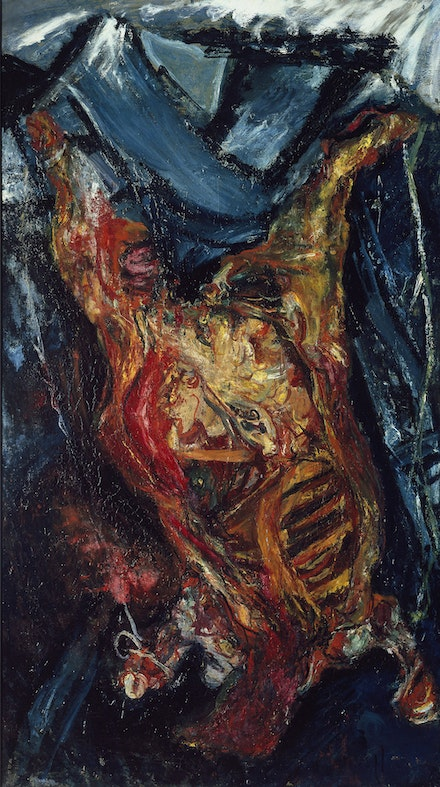Chaïm Soutine,<em>Carcass of Beef</em>, c. 1925. Oil on canvas, 79 1/2 × 44 7/8 inches. Musée de l'Orangerie, Paris. Jean Walter and Paul Guillaume CollectionArtwork © 2021 Artist Rights Society (ARS). New York.