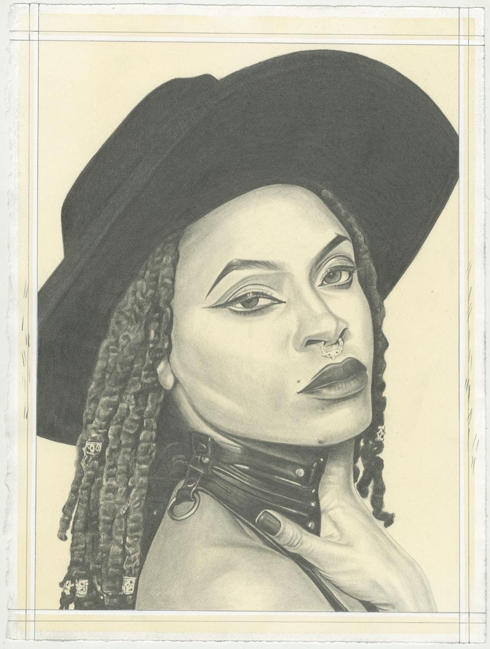 Portrait of Arazel Thalez, pencil on paper by Phong H. Bui.