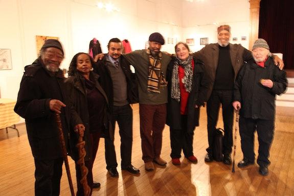 From the left: Askia Touré, Brenda Walcott, Tony Medina, Tontongi, Jill Netchinsky, Everett Hoagland, and Aldo Tambellini in New Bedford in 2012. Photo: Jose A. Soler.