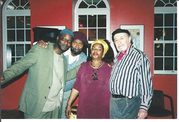 From the left: Che Hicks, Tontongi, Brenda Walcott, and Aldo Tambellini in Cambridge, MA in 2003.