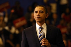 Obama during South Carolina primary on Jan. 24 at North Charleston High School. <i>Photo by Daniella Zalcman.</i>