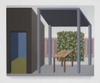 Emily Ludwig Shaffer, <em>Care and Maintenance</em>, 2021. Acrylic on canvas, 42 x 52 inches. Courtesy L'INCONNUE.