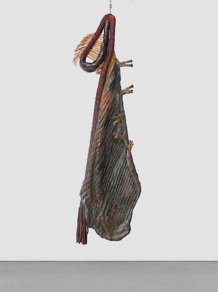 Françoise Grossen, <em>Metamorphosis IV (6)</em>, 1987-90. Dyed and acrylic painted manila, plaster 68 x 10 x 20 inches. © Françoise Grossen. Courtesy of the artist and Blum & Poe, Los Angeles/New York/Tokyo.
