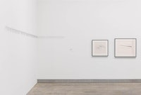 Left to right: Zarina, <em>Hanging in There</em>, 2000. Wire and linen thread. Courtesy the artist and Luhring Augustine, New York. Nasreen Mohamedi, <em>Untitled</em>,<em> </em>c. 1984 and <em>Untitled</em>, c. 1985. Both ink and graphite on paper. Peabody Essex Museum, Salem. Courtesy the Philadelphia Museum of Art. Photo: Joseph Hu, 2020.