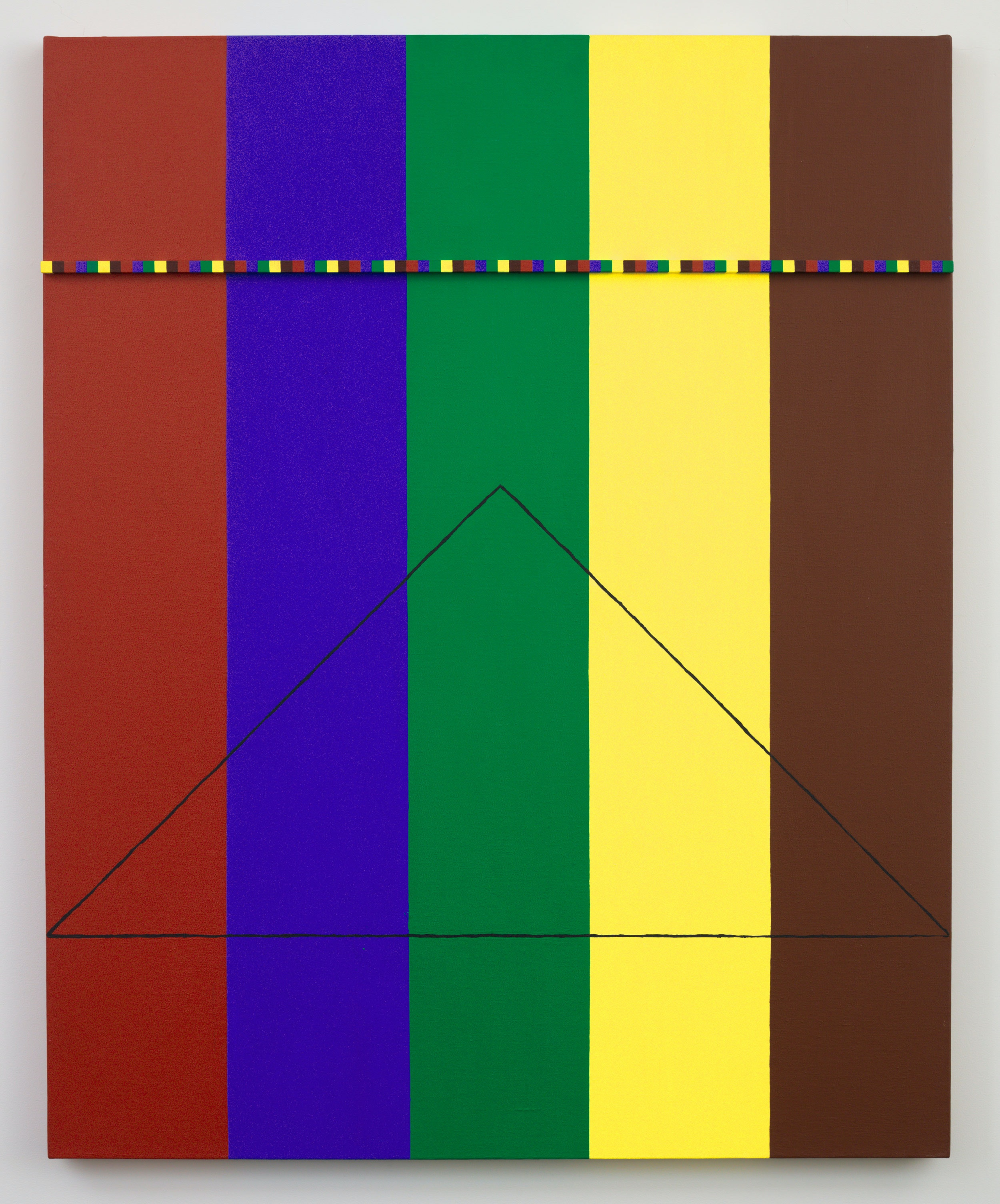 Regina Bogat, <em>The Phoenix and the Mountain #9</em>, 1980. Acrylic, wood, rope on canvas, 50 x 40 inches. Courtesy of Zürcher Gallery, NY / Paris.